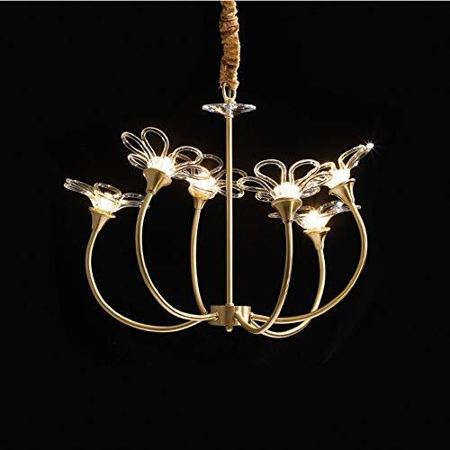 LED Modernes Licht Luxus Blütenblatt Kronleuchter Italienische Kunst Kupfer Esszimmer Wohnzimmer Lampe Italienische Designerin Mädchen Schlafzimmer Lampe