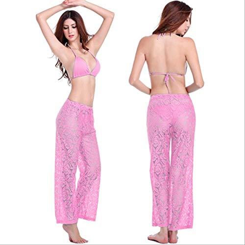 BYOGAZT Plus Size Loose Pattern Beach Wear Hosen Verstellbare Krawatte Reife Frauen Lady Long Lace Pant S Pink