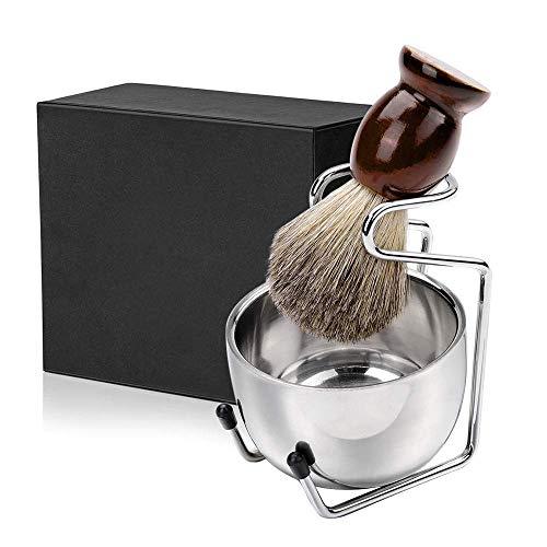 E-More Juego de brochas de afeitar, kit de afeitar 3 en 1 para hombres: brocha de afeitar para el cabello con mango de madera, tazón de jabón de acero inoxidable y soporte para afeitar