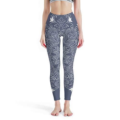 Lind88 - Pantalones lisos Mujeres, Capris Azul Oscuro Mandela Patten Impresión Moda Impreso Leggings Pantalones de Yoga para Mujeres Diseños l blanco