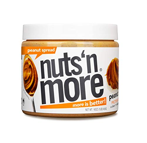 Nuts 'N More Orignal Peanut Butter Spread, All Natural High Protein Nut Butter Healthy Snack, Omega 3's and Antioxidants, Low Carb, Low Sugar, Gluten Free, Non GMO, Preservative Free, 16 oz Jar