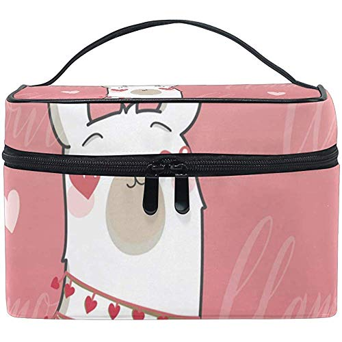 Sac Cosmétique Lama Avec Coeur Rose Multifonction Maquillage Trousse De Toilette Organisateur Cas Avec Fermeture Éclair