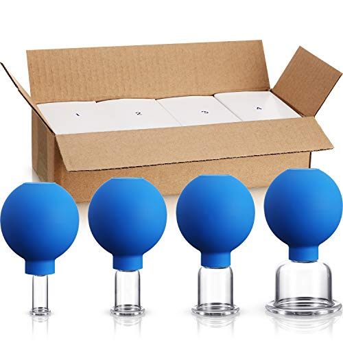 4 Pieces Glass Cupping Set Glass Silicone Cupping Cups Massage Vacuum Suction Cupping Cups for Body Face Leg Arm Back Shoulder Muscle and Joint Pain (Blue)