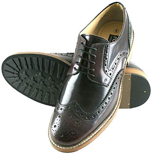 Roamers Hi Shine Oxblood Echt Leder mit 5Ösen Flügel Kappe Gibson Brogue Herren Schuhe, Rot - Oxblood - Größe: 42 2/3 EU