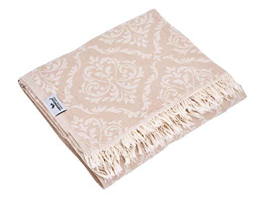 Carenesse Tagesdecke BAROCK Muster beige, 145 x 190 cm, hochwertige leichte Doubleface Decke 100% Baumwolle Kurze Fransen, Wohndecke, Sofa-Überwurf, Bettüberwurf, Couchdecke, Bedspread, Plaid
