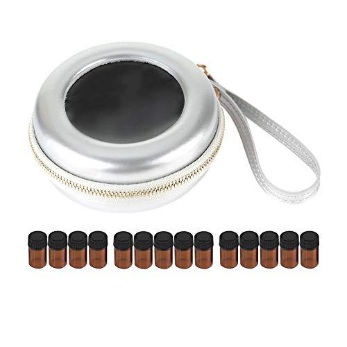 Paquet d'huiles essentielles sac de voyage pour huiles essentielles portable durable en cuir PU trousse de toilette (Essenzölflasche-Silbe)