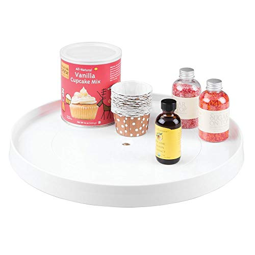 mDesign Plastic Lazy Susan Turntable Food Storage Container for Cabinets, Pantry, Refrigerator, Countertops - Spinning Organizer for Spices, Condiments, Baking Supplies - 14.5