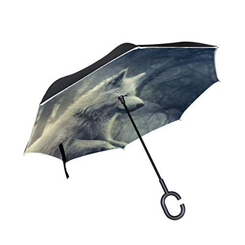 con manija en Forma de C para automóvil Paraguas inverso a Prueba de Viento Forest Shine White Wolf Patio Umbrella Lake Outdoor Umbrella