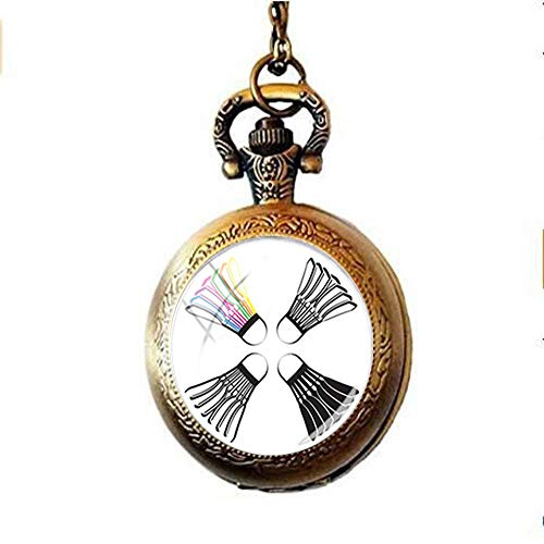 Badminton-Taschenuhr-Halskette, Geschenk für Freunde, Vintage-Stil, Foto-Schmuck, handgefertigter Schmuck