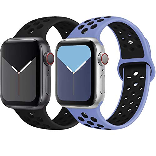 INZAKI Kompatibel mit Apple Watch Armband 42mm 44mm,weich atmungsaktives Silikon Sport Ersatzband für Armband für iWatch Serie 5/4/3/2/1,Nike+,Sport,wasserdicht,M/L,BlackBlack/RoyalpulseBlack