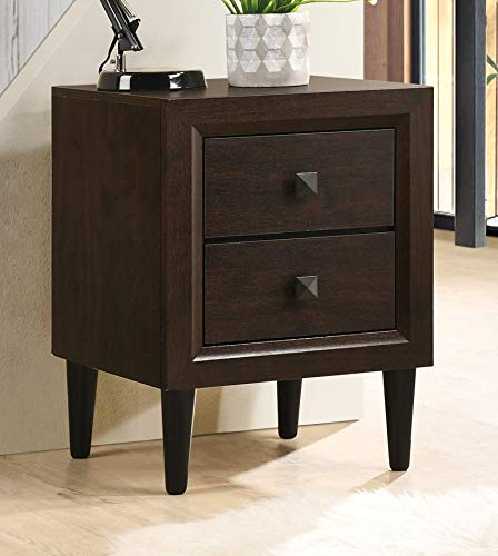 Knocbel 2-Drawer Nightstand, Solid Wood Sofa Side End Table Bedside Night Stand with Tapered Legs, 16' L x 16' W x 21' H (Espresso)