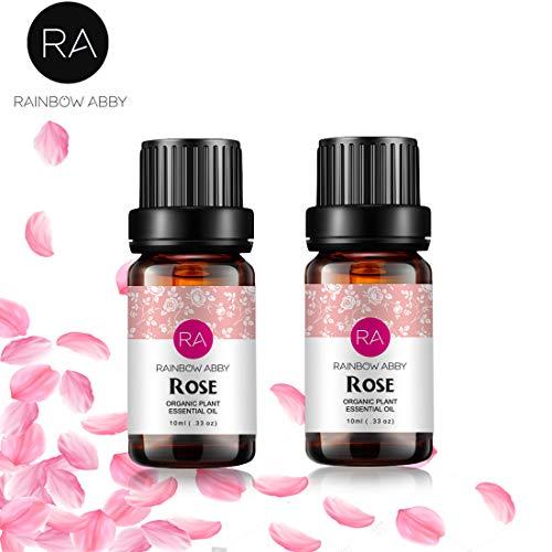 2 botellas de aceite esencial de rosa Aceite de aromaterapia 100% puro para difusor, perfumes, masajes, cuidado de la piel, jabones, velas - 2 x 10 ml