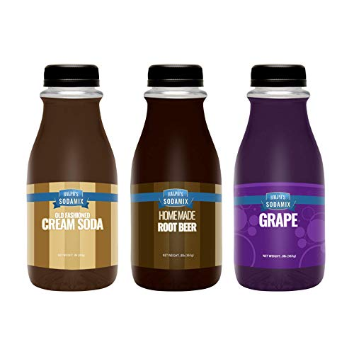 Ralph's 3 Sparkling Water Soda Maker Flavors Syrup Pack | Cream Soda | Root Beer | Grape | Three 12oz Bottles | Sodamix