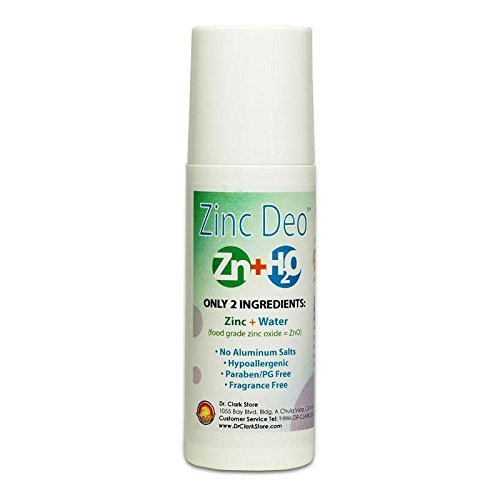 Dr Clark Zinc Oxide Roll-On Deodorant- NO Aluminum, Hypoallergenic, Paraben Free, Fragrance Free. Safe, Natural, Effective