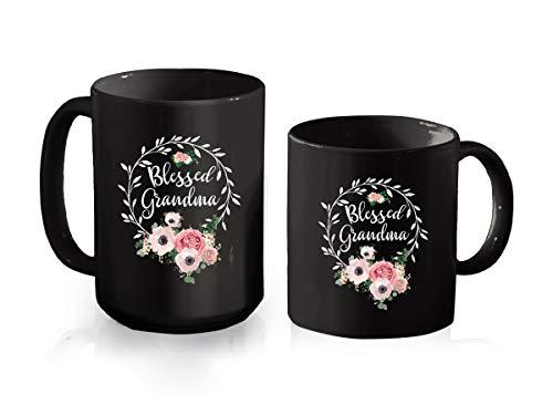 Blessed Grandma Mug For Women - Floral Grandma 2021 Vintage Black Cup For Mothers Day, Grandma Mug From Granddaughter, Grandson Coffee Cup Ceramic Mug 11oz (Black;11oz)