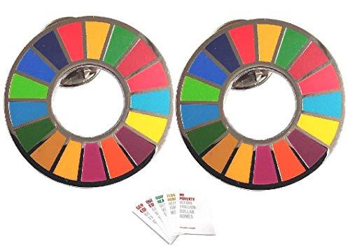 SDGs ピンバッジ 最新仕様 国連本部限定販売 日本未発売 UNオリジナル ポストカード1枚 (全19種類 ランダム) (2個セット版)