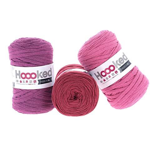 Hoooked RibbonXL Sparset aus 3 Rollen je 120 Meter Riesen-Textilgarn aus recycelter Kleidung (Plum Lipstick)