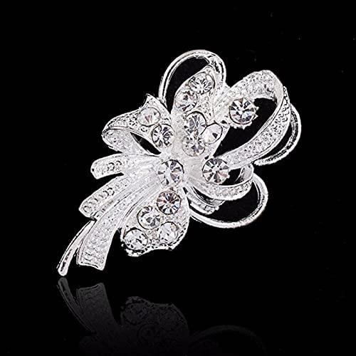 N\C 2 Uds Broche De Flores De Diamantes De ImitacióN Broches para Mujer Broche Grande con Lazo Pin JoyeríA De Moda Simple Pin De Boda Accesorios De Ramillete