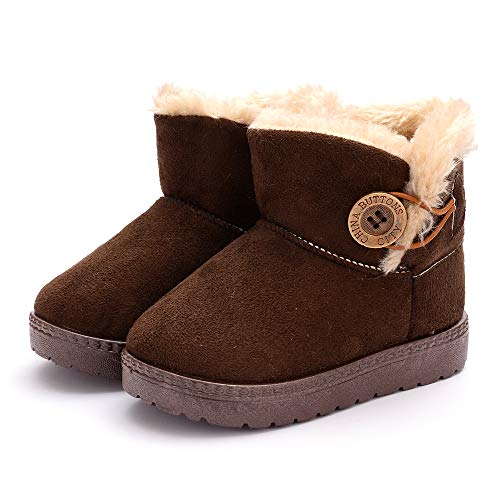 Dejian Newborn Baby Boys Girls Fleece Fur Knit Winter Warm Snow Boots Soft Sole Prewalker Non-Skid Boots for Infant Toddler(12-18 Months,Brown)