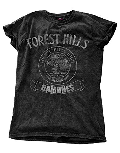 Ramones T Shirt Forest Hills Band Logo Official Womens Junior Fit Snow Wash Size 10