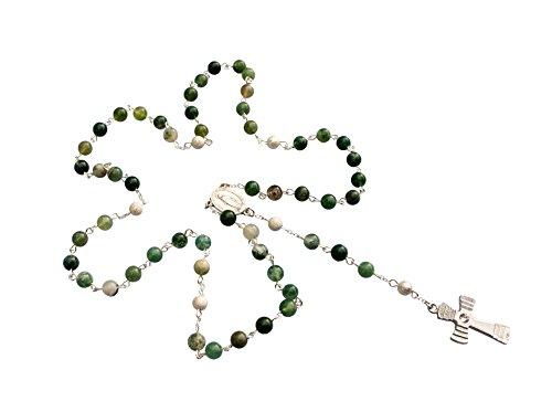 Zinngeschenke großer Rosenkranz gefertigt aus echtem Moosachat mit 59 Perlen. Die Lieferung erfolgt mit dem Kreuz Nr. 1, sehr Edel, jeder Rosenkranz ein Unikat wie alle unsere Rosenkränze Länge 49 cm