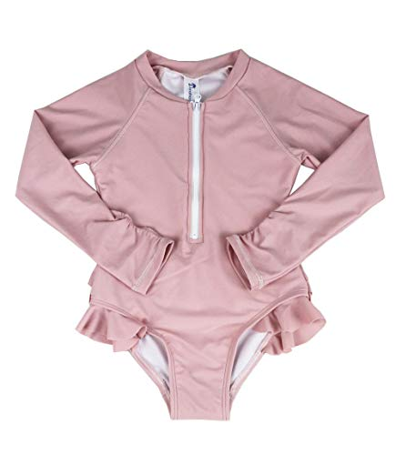 Jonathan Swim Baby Meisjes Badpak Een Stuk Lange Mouw UPF 50+ UV Sunsuit, Zwemmen Kids Wetsuit Rits 1-6Y Zwemkleding