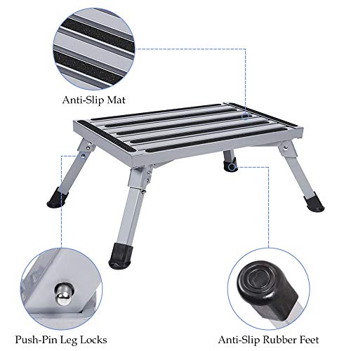 Folding Platform Step Stool Aluminum Platform Stool Chair, Safety Anti-Skid Work Platform Bench with Rubber Feet and Vertical Surface for Kitchen RV Camper, 440lbs Capacity Grey