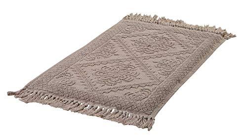 Home4You Teppich Allzweckteppich Badematte | Beige | Baumwolle | 60x120 cm