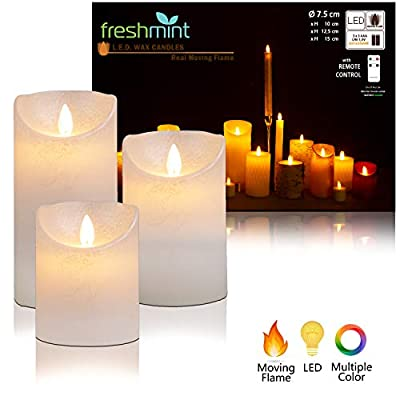 Flameless Candles Battery Operated with Remote, Real Moving Flame Decorative Electric LED Candle