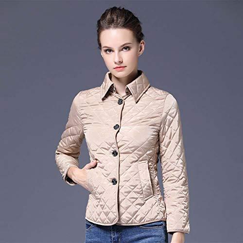 ELEAMO Zara Jas vrouwen Casual Katoen Jas Ultralight Effen Kleur Warm Lapel Slim Pocket Womens gewatteerde jas