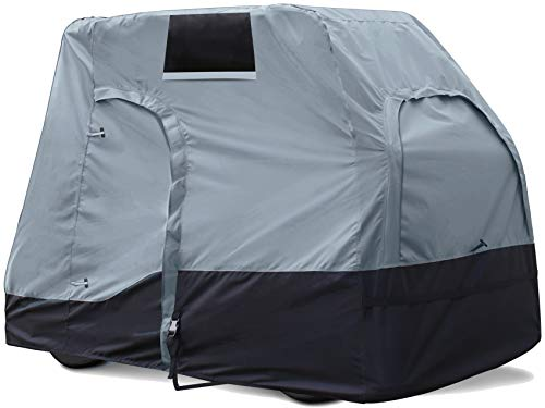 Explore Land Weatherproof 2/4 Passengers Golf Cart Cover Universal Fits EZGO Club Car Yamaha - All Season Golf Cart Enclosure with Driver Side Door and Back Side Zipper Window