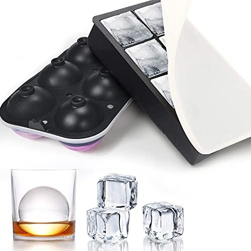Cubiteras para Hielo, Cubitera Silicona con Tapa sin BPA, Moldes de Hielo de Silicona Cuadrado y Redondo Bola de Hielo para Bebés, Cola, Cócteles, Whisky Negro, Juego de 2