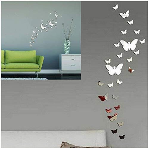 SwirlColor 30PCS Farfalla Combinazione 3D Specchio Wall Stickers Home Decoration(Argento)
