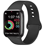 Replacement Strap compatible with Apple Watch Strap 38mm 42mm 40mm 44mm, Soft Silicone Band Compatible with iWatch Series 6 5 4 3 2 1 (02 Black, 42mm 44mm M/L)