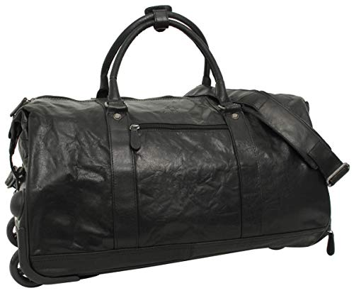 Gusti Leather 'Bexley' Weekender Trolley Travel Bag Leather Black