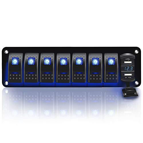 YULLING Panel de interruptor basculante con enchufe de cargador USB doble, pantalla de voltaje digital impermeable de interruptor de encendido/apagado, para coche de 12 V/24 V
