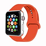 IYOU Sport Band Compatible with Watch Band 38MM 42MM 40MM 44MM, Soft Silicone Replacement Sport Strap Compatible with 2018 Watch Series 4/3/2/1 (Orange,42MM, M/L)
