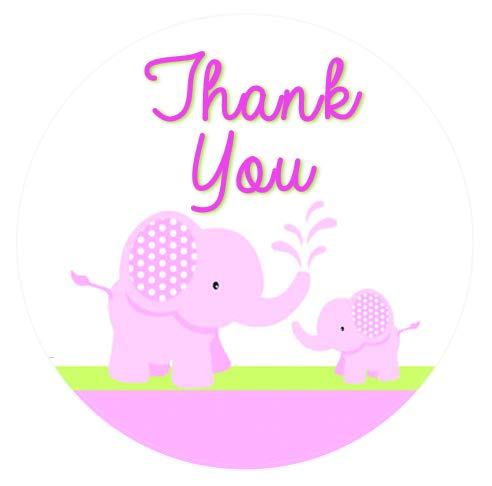 60 Pink Elephant Thank You Stickers 1.5 Inch - Elephant Baby Shower Stickers - Elephant Birthday Stickers - Girl Baby Shower - Baby Girl Birthday