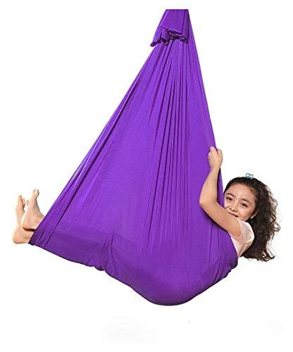 SHUHANG Terapia interior sensorial Swing con accesorios de montaje ajustable acurrucamiento hamaca calmante niño (color morado, tamaño: 400 x 280 cm)