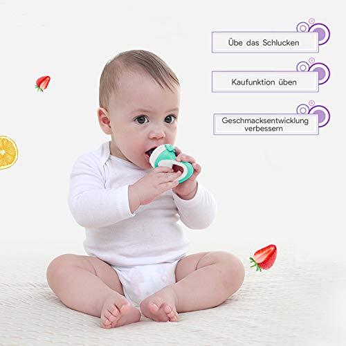 Oladwolf Fruchtsauger für Baby & Kleinkind, Silikon Schätzchen Schnuller für Obst und Gemüse Brei Beikost, BPA frei, 5PCS Professionelles Baby-Beißring Sauger in 3 Größen - 3