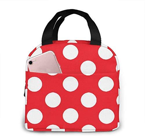 Bolsa de almuerzo con lunares rojos y blancos para mujeres,niñas,niños,bolsa de picnic aislada,bolsa gourmet,bolsa cálida para el trabajo escolar,oficina,camping,viajes,pesca