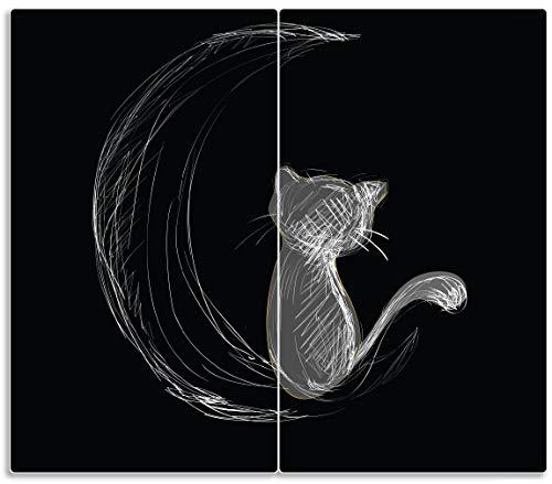 Wallario Herdabdeckplatte/Spritzschutz aus Glas, 2-teilig, 60x52cm, für Ceran- und Induktionsherde, Weiße niedliche Katze sitzt auf dem Mond - illustriert in weiß auf schwarz