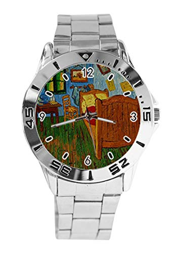 Bedroom at Arles by Greatest Artist Vincent Van Gogh Custom Design Analog Armbanduhr Quarz Silber Zifferblatt Klassische Edelstahl-Band Damen Herren Armbanduhr