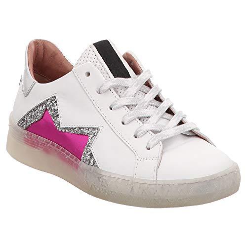 Mjus | Low Top Sneaker - weiß | pink, Farbe:weiß, Größe:36