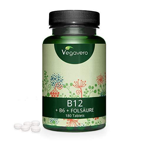 VegaVital vitamine B12, 1000 mcg (avec B6 + acide folique), végétalien, 90 comprimés