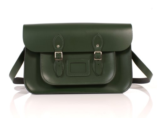 15' British Racing Green English Leather Satchel Classic Retro Fashion laptop/school bag