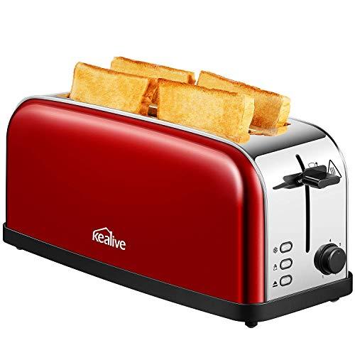 Kealive Grille Pain Extra longue, Toaster à Cuisson Rapide Uniforme, 7 Niveaux de brunissement, pour 4 tranches, Décongèle, Réchauffe, Rouge, Acier inoxydable