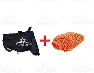 AutoStark Combo Bike Body Cover Black + Microfiber Gloves for Royal Enfield Classic 350