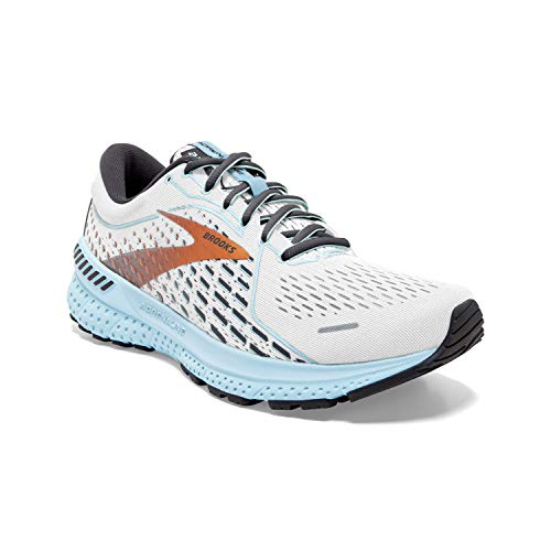 Brooks Women's Adrenaline GTS 21, White/Light Blue, 8 Medium