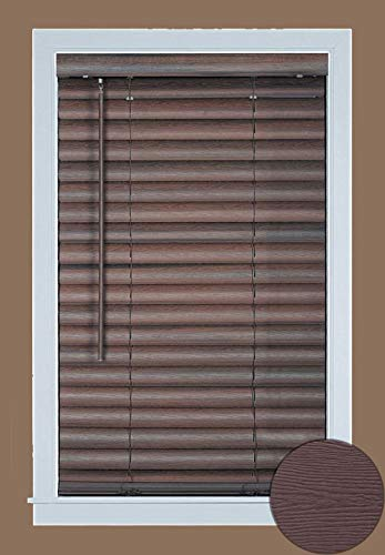 "PowerSellerUSA Achim Home Furnishing Cordless GII Luna 2"" Slat Mahogany Venetian Window Blinds 31"" W x 64"" L"